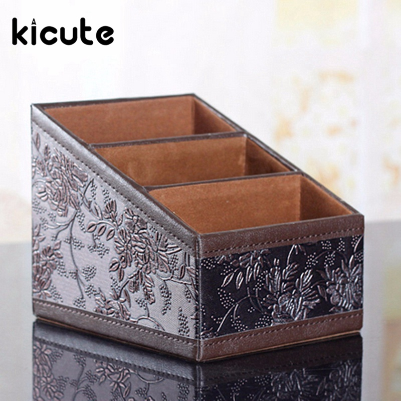 Kicute 1pcs PU Leather Vintage Storage Box Stationery Container Home Storage Tools Sundries Organizer Office School Supplies cute cat pen holders multifunctional storage wooden cosmetic storage box memo box penholder gift office organizer school supplie