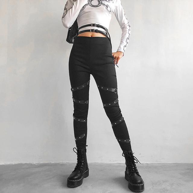Women's Belts Embellished Rock Star Leggings  S-L