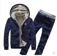 Männer Hoodies Kapuzen Dicken Winter Trainingsanzug Herren Sweatshirt-aktiv-satz 4 Farbe Pullover Trainingsanzüge Moleton Masculino (Asien Größe)