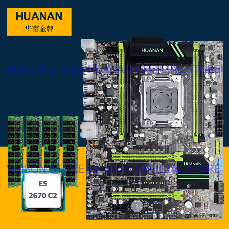 Hot selling HUANAN v2.49 X79 motherboard CPU Xeon E5 2670 C2 RAM 32G(4*8G) DDR3 RECC NVME SSD M.2 port MAX support 4*16G memory deluxe edition huanan x79 lga2011 motherboard cpu ram combos xeon e5 1650 c2 ram 16g 4 4g ddr3 1333mhz recc gift cooler