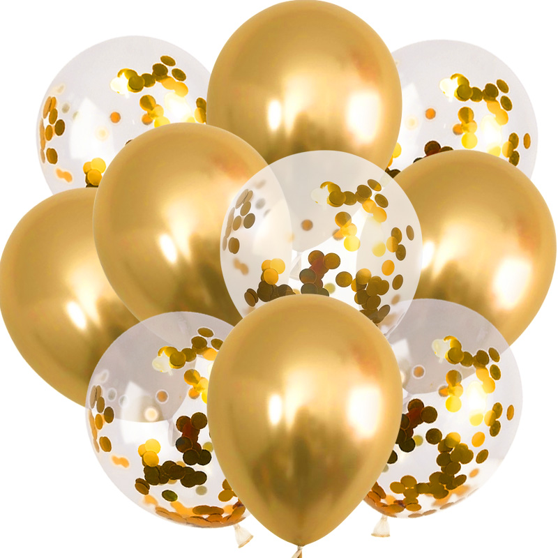 10pcs Gold Metallic Luster Balloons Confetti Latex Ballons Birthday Party Decors Kids Adult Helium Globos Easter Party Supplies