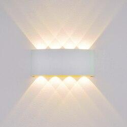 Oświetlenie naścienne LED 2W 4W 6W 8W LED wewnątrz/na zewnątrz aluminium dekoracyjna lampa ścienna IP65 wodoodporna ściana lampa balkon ogród na werandzie światło Wewnętrzne kinkiety LED Lampy i oświetlenie -