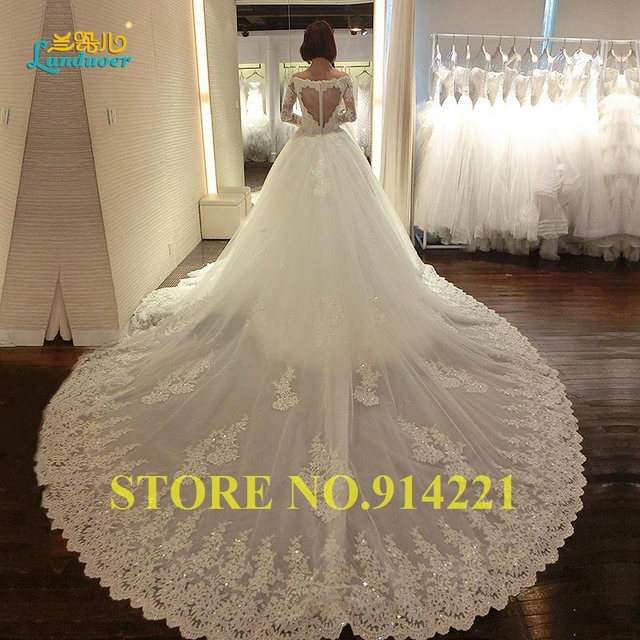 Luxury Cathedral Train Wedding Dresses 2016 appliques vintage lace ...