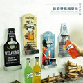 Save Water Drink Beer Beer Shaped Wall Bottle Opener Fine Beer Good Food Wall Mounted Wood Plaque Bottle Openers and Cap Catcher