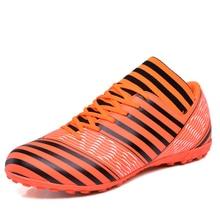Для мужчин Обувь для футбола Indoor TF футбольные бутсы в полоску футбольные бутсы с носки человек профессиональный спортивная обувь размеры 39–44