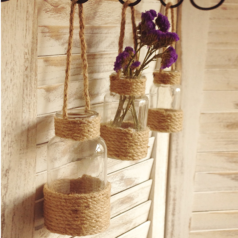 Simple French Hemp Rope Hanging Glass Flowers Planter Vase Modern  Transparent Container Home Garden Decors Suspension Decoration