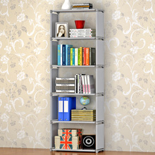 Simple home modern style non-woven fabric free assembly fashion furniture livingroom decoration multi-function 7 layer bookshelf