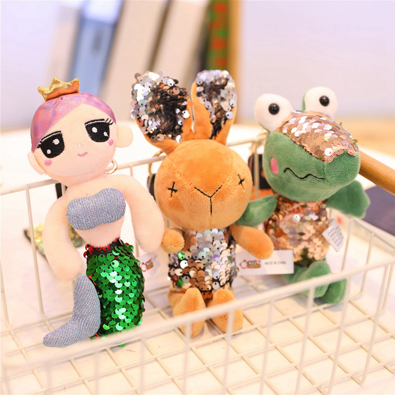 Lovely Rabbit Plush, Animal Stuffed Sparkling Rabbit Crocodile Mermaid Key Chain TOY, Kid'S Party Plush TOY , Bouquet Plush Doll