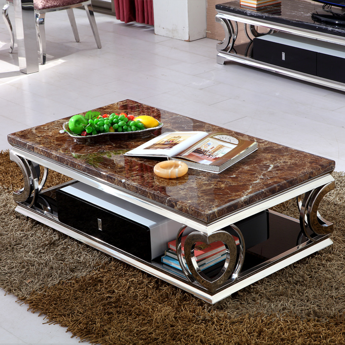 Marble Coffee Table For Living Room: Heart Shaped Marble Coffee Table 1.21.5 Stainless Glass