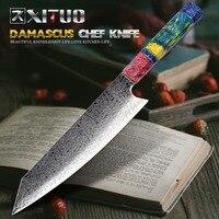 XITUO 8 Inch Cleaver Chef Knife Damascus Steel V10 Nakiri Knife Eco Solidified Wood Kitchen Salmon Meat Slicing Santoku Knife RU