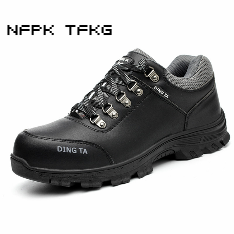 mens casual big size breathable steel toe cap working safety summer shoes cow leather anti pierce