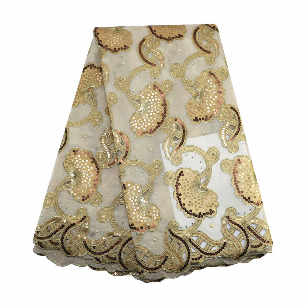 Latest gold double organza sequins fabric handcut net organza lace 022 African Wedding Lace 5yards for
