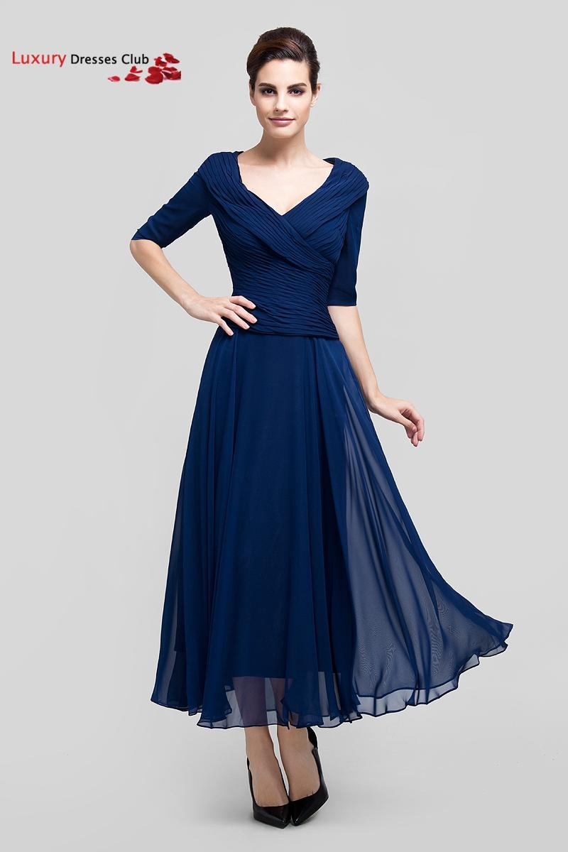Long navy blue formal mother of the bride dresses with for Ankle length wedding dress with sleeves