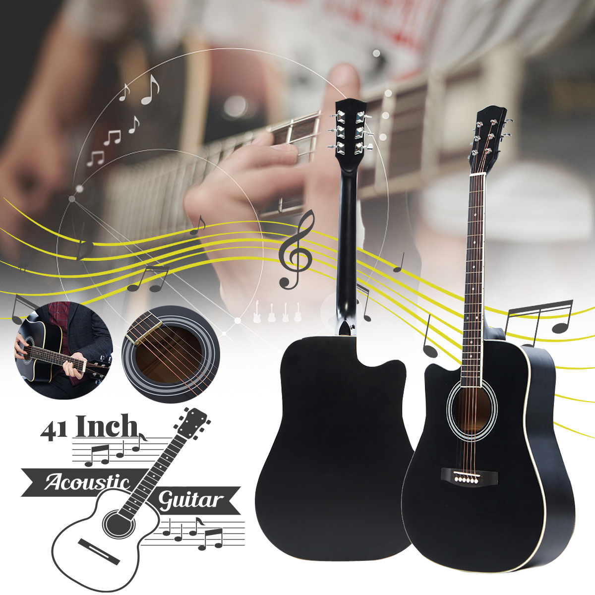 41 Inch Ballad Basswood Face Single Guitar Top Grade Single Board Acoustic Guitar With Original Guitar Accessory free shipping folk guitar 1st 2nd 3rd 4th 5th 6th single string on sale guitar accessories ballad guitar strings with packing