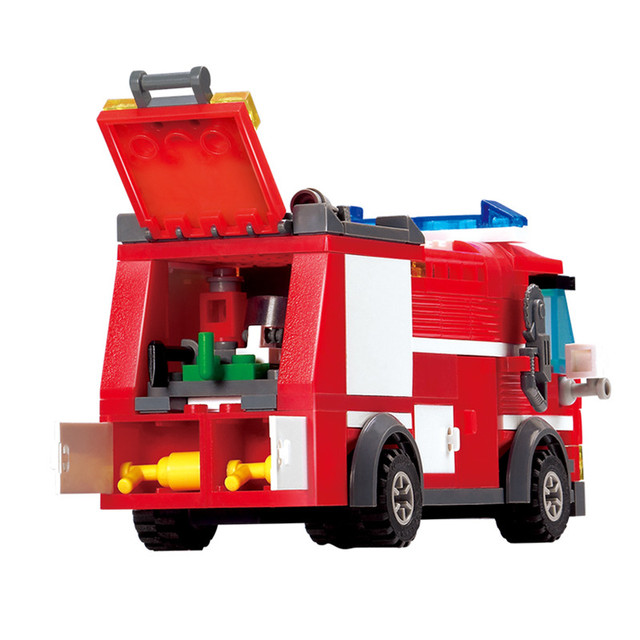 206pcs Fire Truck Building Blocks Small Particles DIY Action Figure Toys