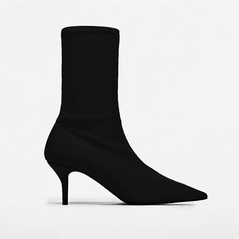 A-BUYBEA 2018 Women ankle boots Spring Autumn Pointed Toe Elastic High Boots Slip On High Heel Ankle Boots comfort Women Pumps
