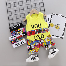 2019 Summer Children's Clothes Suit Vest Cotton Fashion Baby Boy Sleeveless Shorts Sports Children's Clothing Kids Clothes