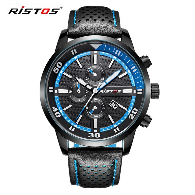 RISTOS Military Sport Quartz Men Watch Mens Fashion Casual Calendar Genuine Leather Watch Male Date Black Waterproof Wristwatch