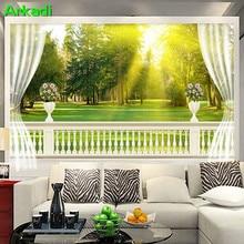 European balcony meadow landscape 3D TV background wallpaper