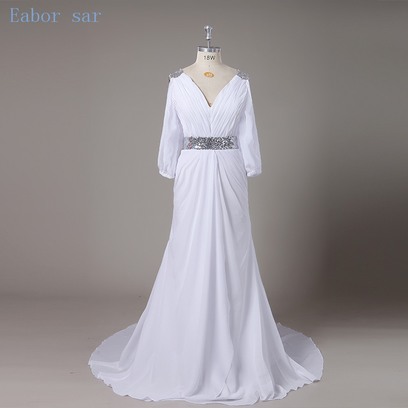 Grecian Style Wedding Gown: New Arrival Vestido De Noiva Half Sleeve Beach Wedding