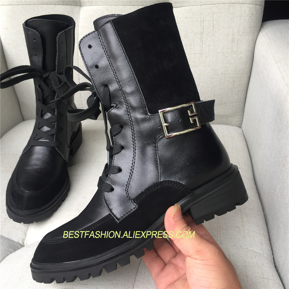 2018 Hot Autumn Winter Shoes Woman Genuine Leather Lace Up Knight Boots Woman Design Runway Boots Square Heels Ankle Boots Mujer цена