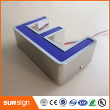 Outdoor stainless steel LED 3d letter sign logo,Frontlit acrylic lighting up led