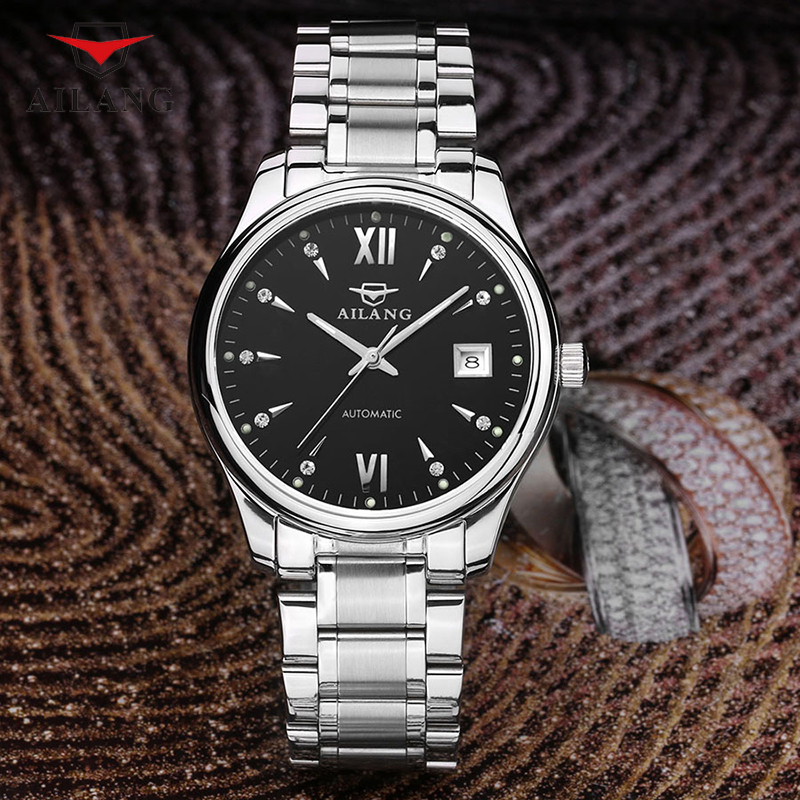 AILANG Brand Luxury Fashion Watch Men Calendar Waterproof Wrist Watch Men's Stainless Steel Automatic Mechanical Wristwatch A087 сотовый телефон ginzzu r4 dual white