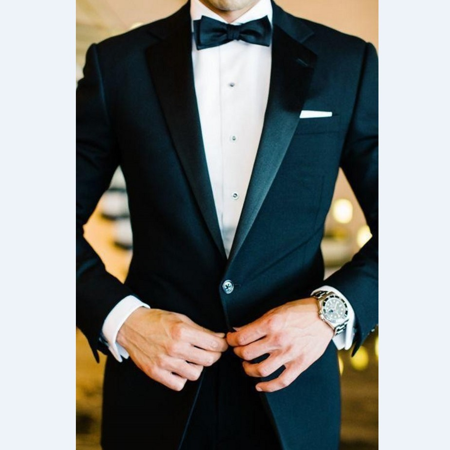Custom Made Groomsmen Notch Satin Lapel Groom Tuxedos Navy Blue Men Suits 2017 Wedding Best Man (Jacket+Pants+Tie+Hankerchief)