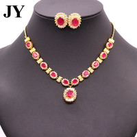 JY Fashion Red Stone Necklace Charm Vintage Jewelry Sets For Women Party Earring Best Love Gift For Anniversary Woamn Brincos
