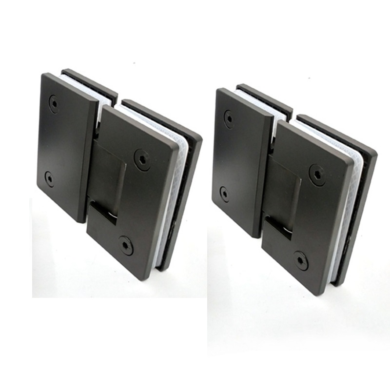 2 pieces 304 Stainless Steel Shower Room Door Clip Frameless Glass Door Hinge Shower Door Black