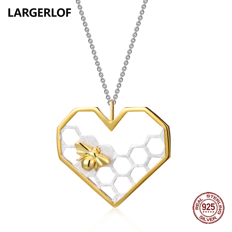 LARGERLOF 925 Sterling Silver Pendant Necklace Women Fine Jewelry Bee Pendant Heart Necklace For Women PD41048 купить в Москве 2019