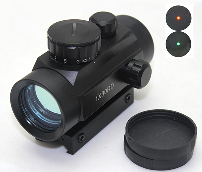 Hot!! Tactical Airsoft 1x30 Red Green Dot Illuminated Scope Red Dot Sight  W/ 20mm Weaver Mount For Rifle Scopes Hunting
