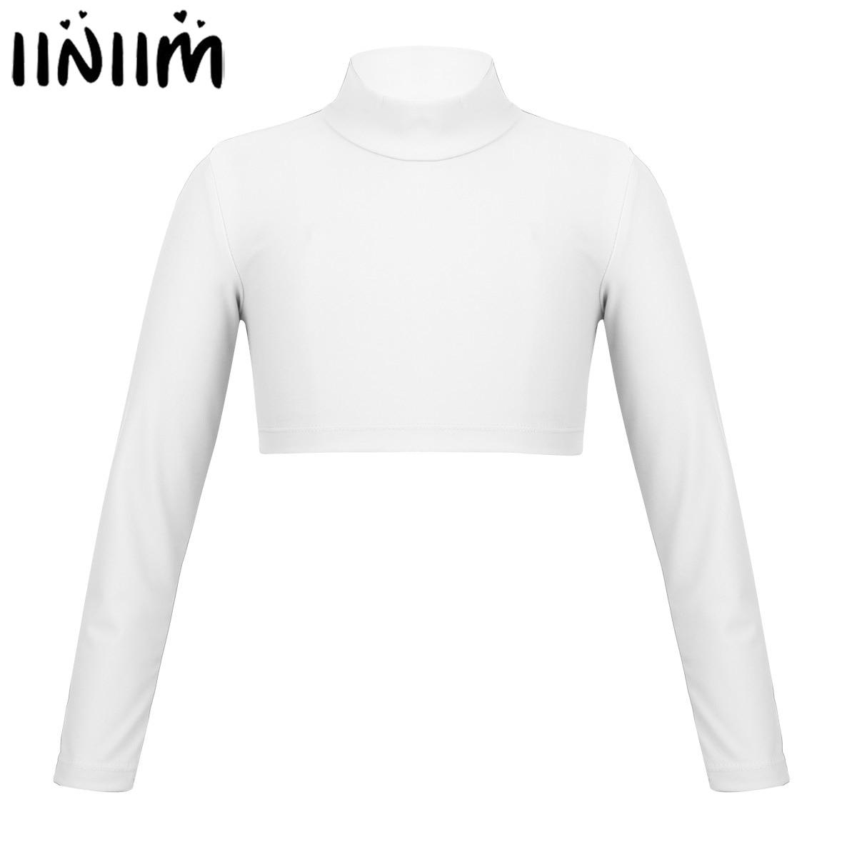 iiniim Girls Ballet Dance Wear Polo Neck Crop Top for Dancing Stage Performance Ballet Gymnastics Leotard Tops for Kids