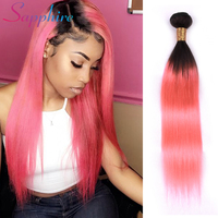 Sapphire Ombre Brazilian Straight Hair Weave Bundles T1B/pink TwoTone Color Remy Human Hair Weaving 8 28