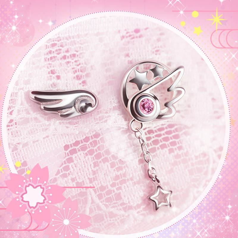Распродажа, пара, карточка, серьга из манги «Сакура», модные ювелирные аксессуары, серебро 925 пробы, Крыло ангела, звезда, сердце для женщин и
