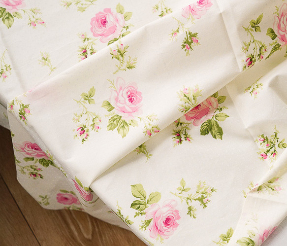 160cm*50cm ROSE cream color cotton fabric sewing clothes baby kids bedding patchwork tissue craft material doll cloth tecidos