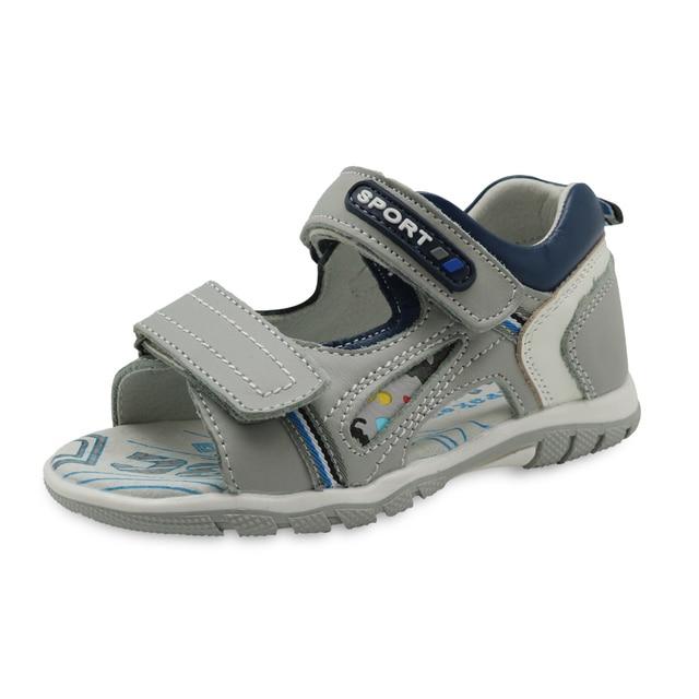 Apakowa erkek hakiki deri sandalet çocuklar burnu açık düz ayakkabı yürümeye başlayan çocuklar için yaz ortopedik plaj sandaletleri kemer desteği ile