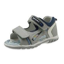 Apakowa בני אמיתי עור סנדלי ילדים פתוח בוהן שטוח נעליים לפעוטות בני קיץ אורטופדי חוף סנדלי עם קשת תמיכה
