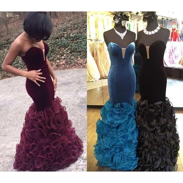 Burgundy Mermaid Prom Dresses 2017 Deep V Neck Cascading Ruffles