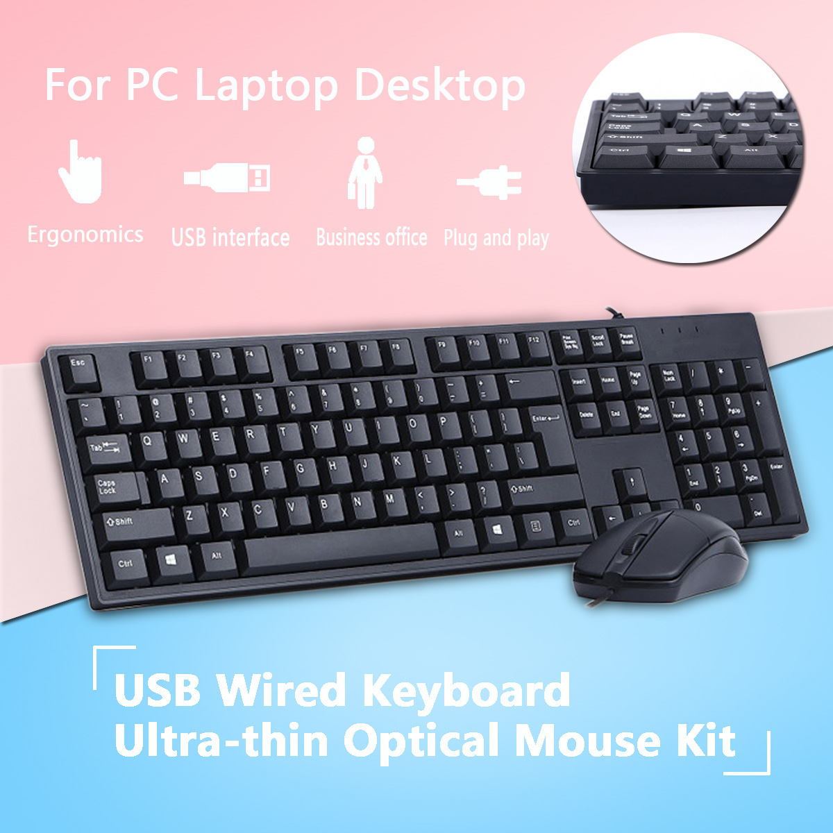 USB Wired Keyboard Ultra-thin Optical Mouse Kit 104 Keys Business Office Keyboards For PC Laptop Desktop