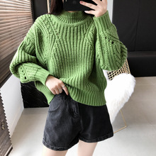 Thick Warm Fall Winter 2019 Wool Coarse Knitted High-collar Turtleneck Keep Pullovers Women Sweater Long