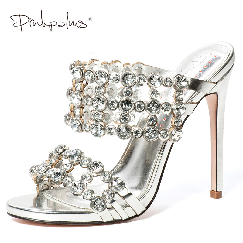 Pink Palms Shoes Women Slippers High Heels with Crystals outside and indoor Slides Mules Shoes Cut-out Mules sexy fashion Silver