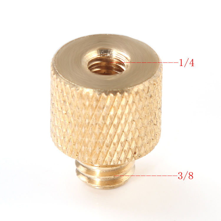 Foleto New <font><b>3</b></font>/8 inch Female to 1/4 inch Male Tripod Thread Reducer Adapter <font><b>Brass</b></font> Copper For Camera tripod Diameter of <font><b>screw</b></font> 6mm image