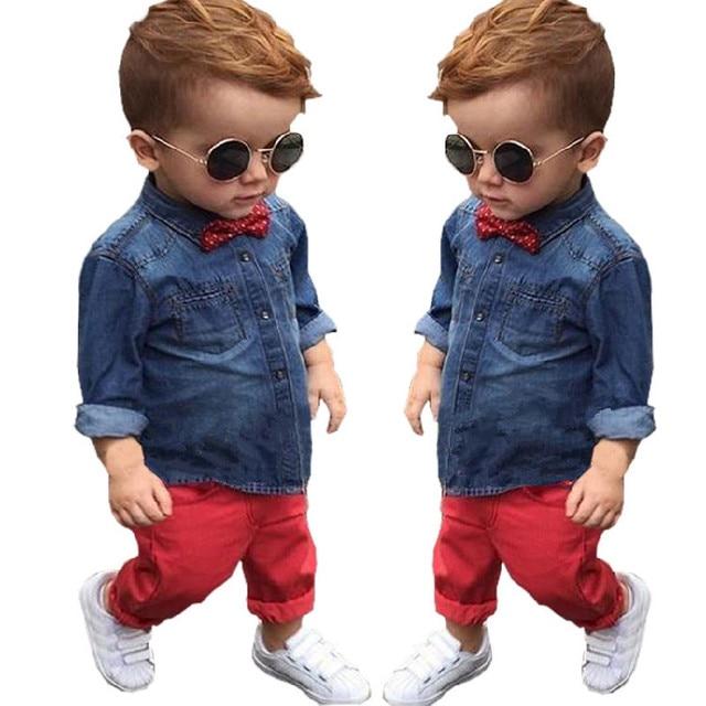 ST245 Весной 2016 детская одежда Набор мальчиков одежда хлопка с длинным рукавом рубашки + брюки джинсовые случайные красные дети одежда