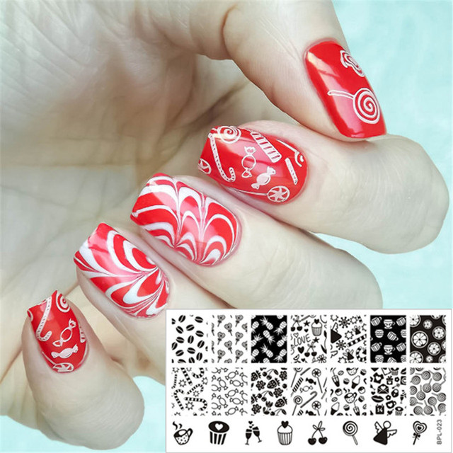 Cupcake Sweets Candy Nail Art Stamping Template Stempel Afbeelding