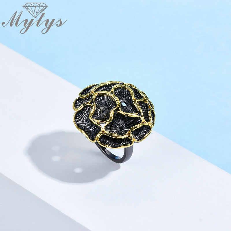 Mytys, винтажный комплект ювелирных изделий из черного пистолета, Модный женский ювелирный набор, античный серебряный, желтый, золотой кружевной цветок, ожерелье, наборы, 3 шт.
