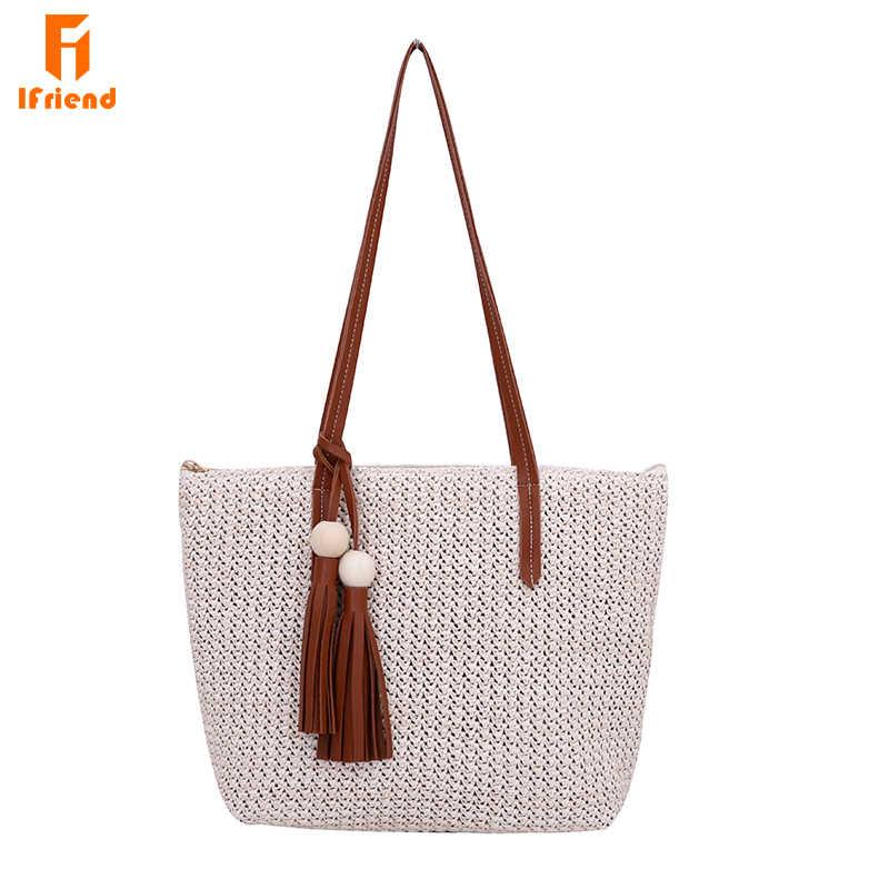 2665e844e7ae Ifriend прочный ткань пляжные сумки соломенные Лен тканые ведро Для женщин  сумка трава Повседневное Tote Сумки