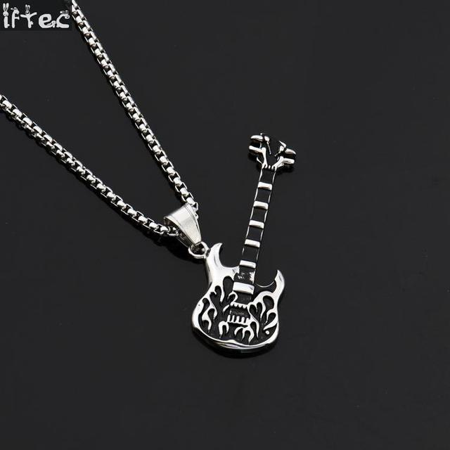 Electric guitar pendants necklaces black gungold color hip hop electric guitar pendants necklaces black gungold color hip hop necklace for men punk aloadofball Choice Image