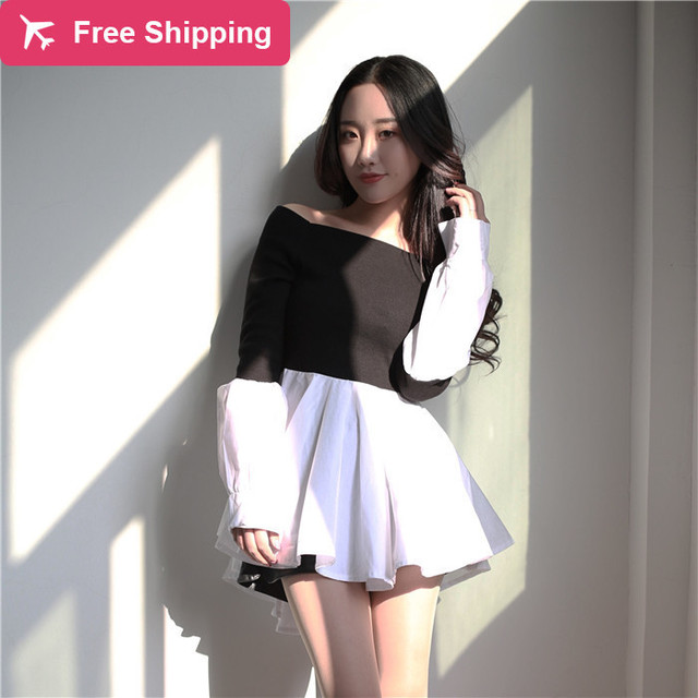 b9f24de3223c2 Super Sexy Black White Patch Long Sleeve T Shirt Women Tops Off Shoulder  Skirt Hem Tee Shirt Femme Chemisier Camiseta Mujer