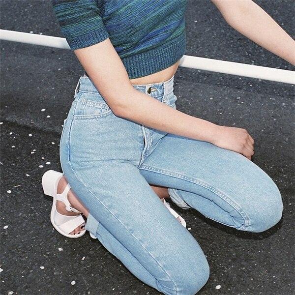 19 korean style women pencil denim pants high waist jeans woman casual vintage jeans boyfriend mom jeans light blue streetwear 5